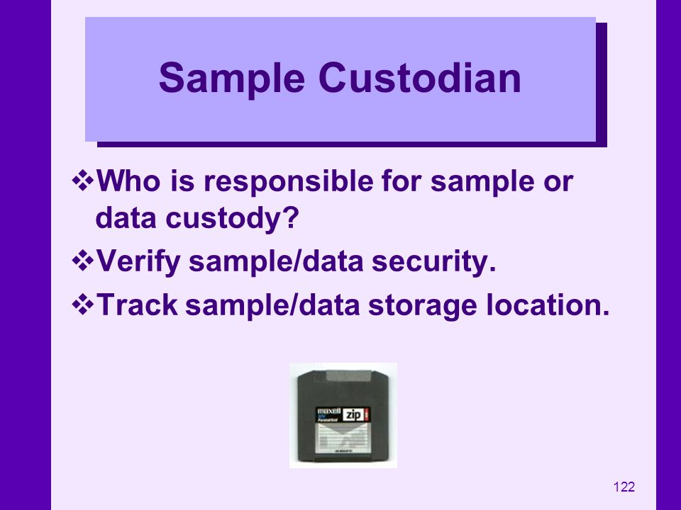 Sample Custodian Who is responsible for sample or data custody