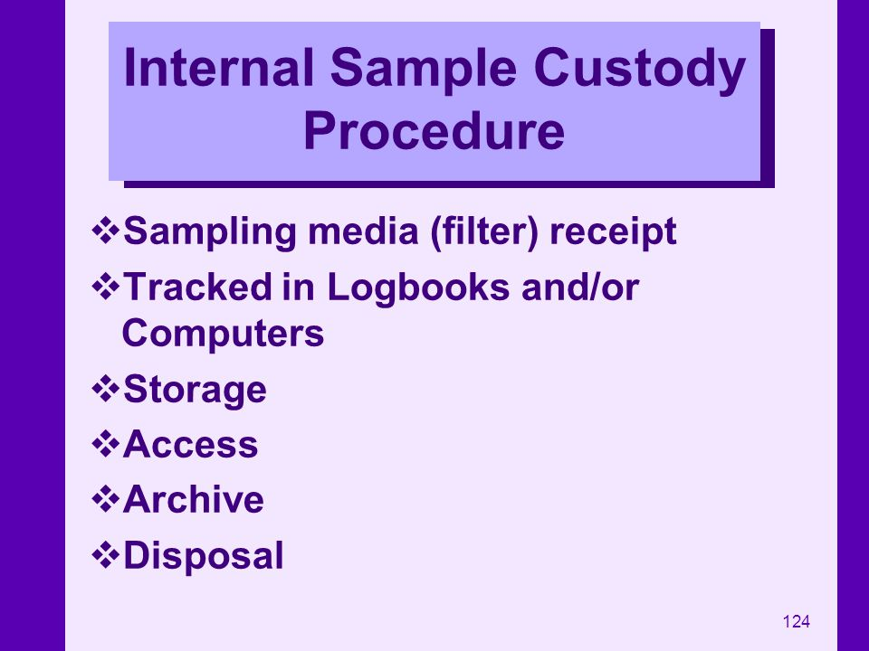 Internal Sample Custody Procedure