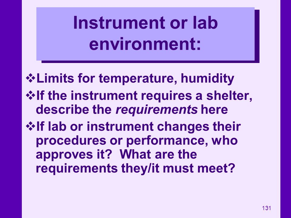 Instrument or lab environment: