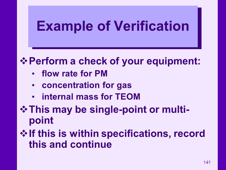 Example of Verification