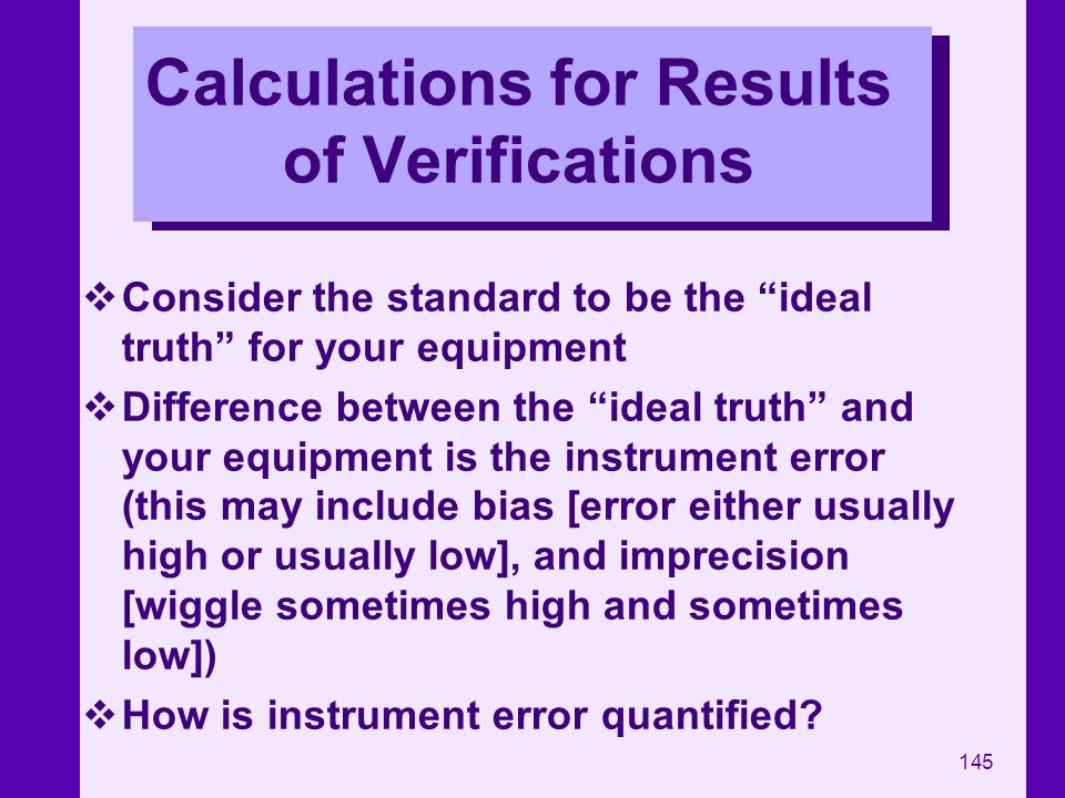 Calculations for Results of Verifications