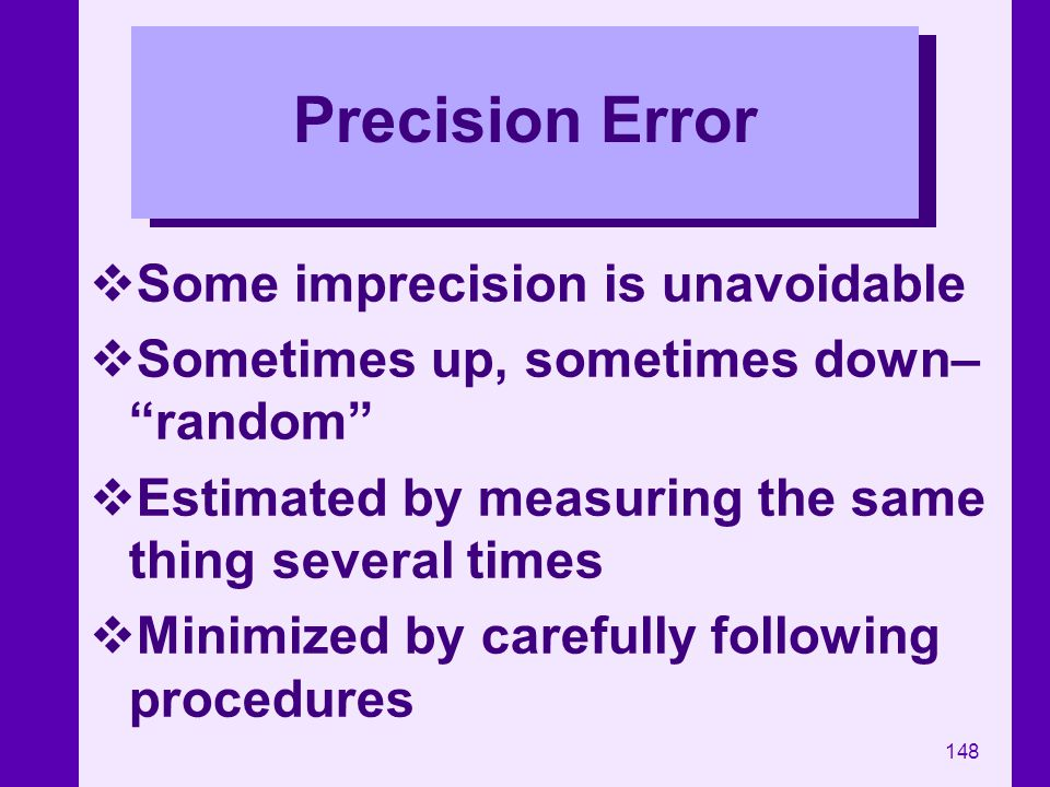 Precision Error Some imprecision is unavoidable
