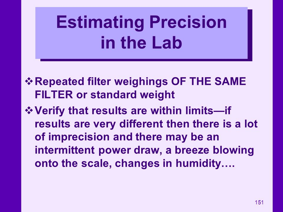 Estimating Precision in the Lab
