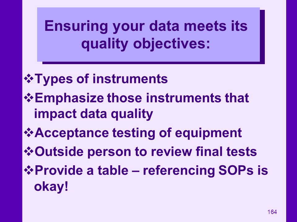 Ensuring your data meets its quality objectives: