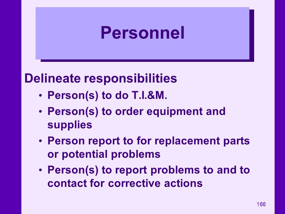 Personnel Delineate responsibilities Person(s) to do T.I.&M.