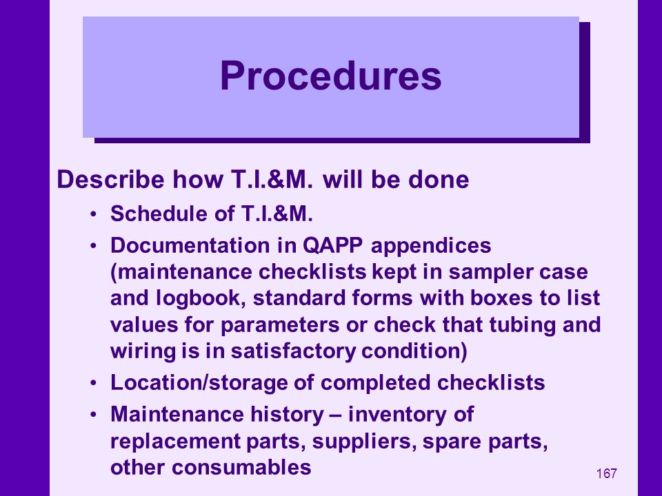Procedures Describe how T.I.&M. will be done Schedule of T.I.&M.