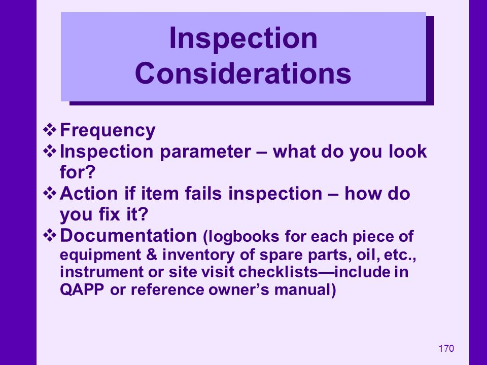 Inspection Considerations