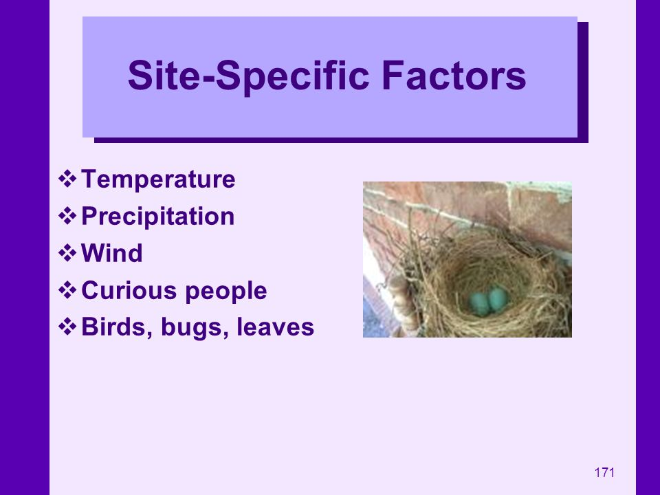 Site-Specific Factors