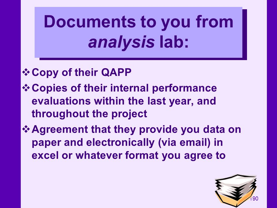 Documents to you from analysis lab: