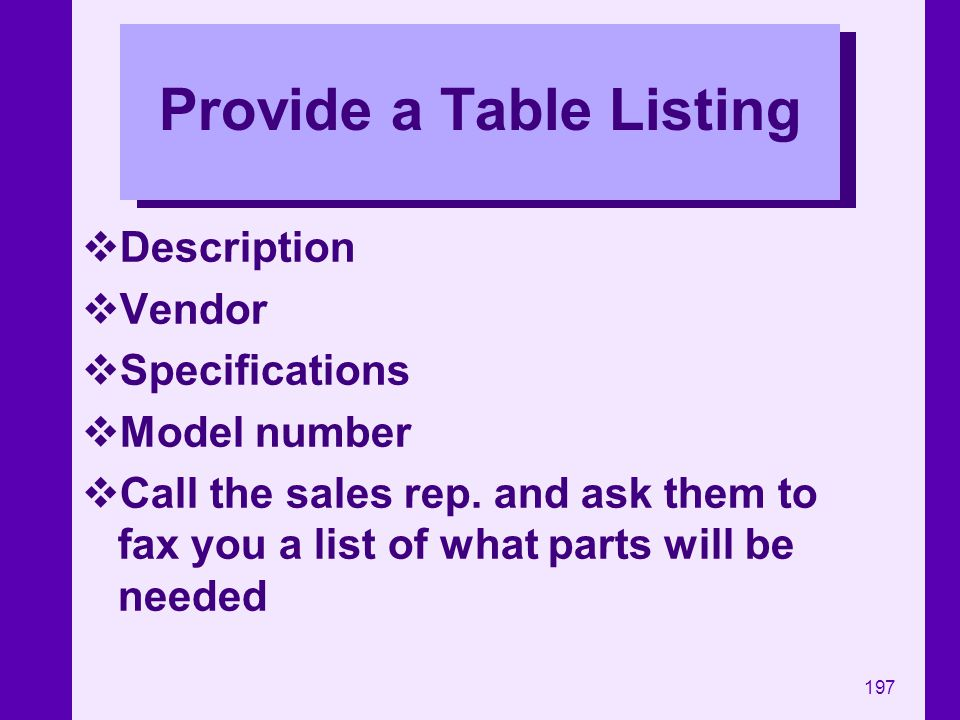 Provide a Table Listing