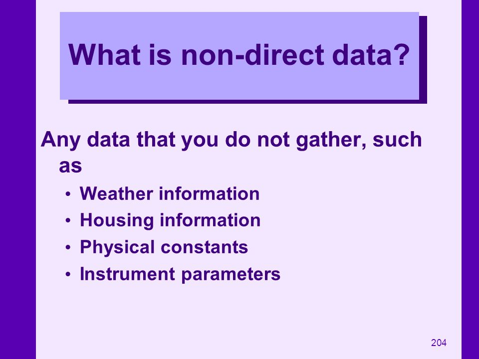 What is non-direct data