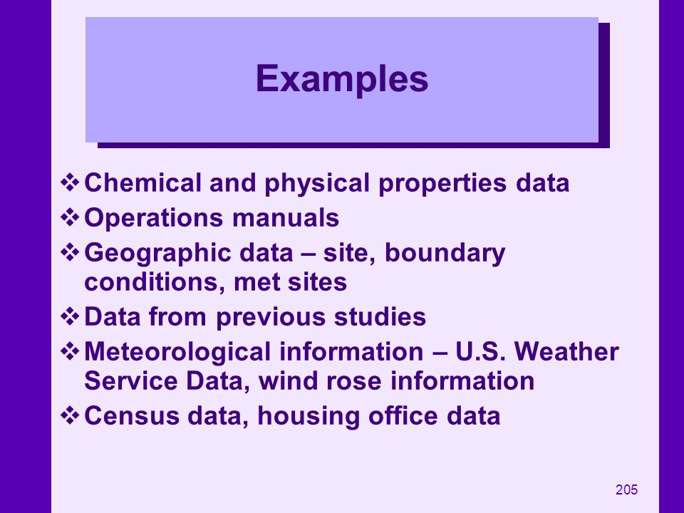 Examples Chemical and physical properties data Operations manuals