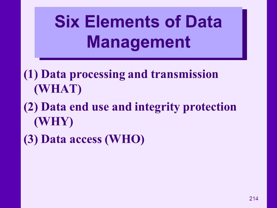 Six Elements of Data Management