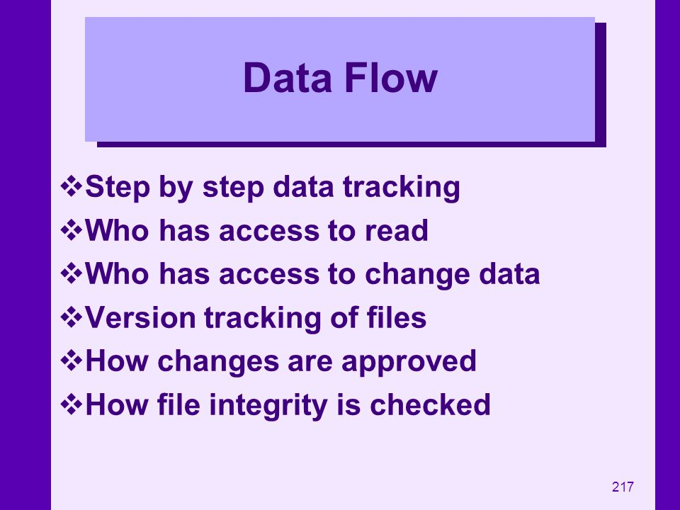 Data Flow Step by step data tracking Who has access to read