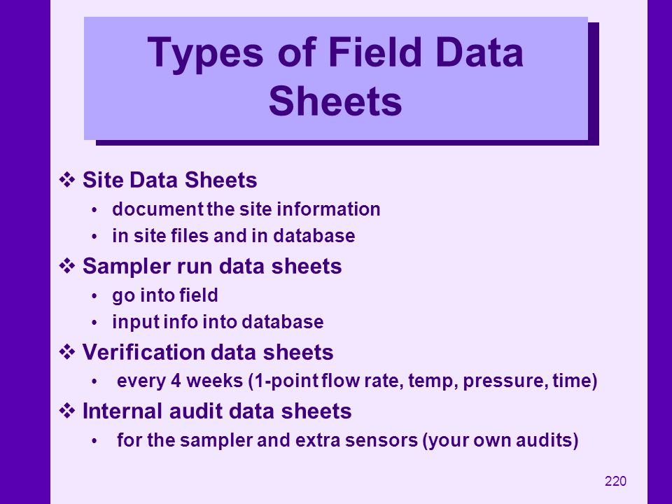 Types of Field Data Sheets