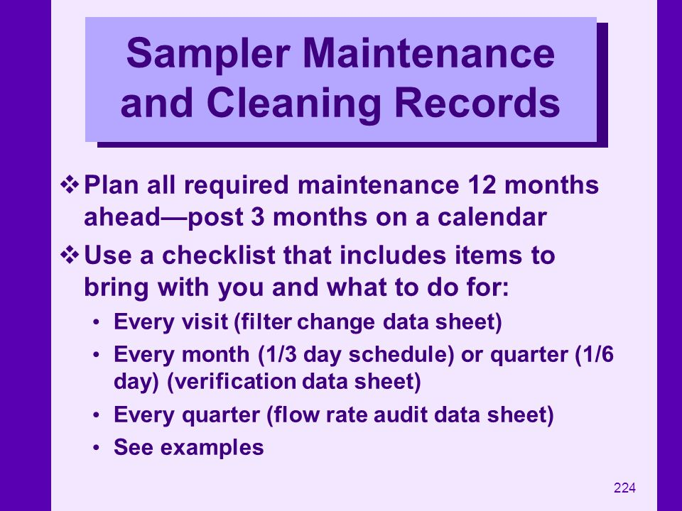 Sampler Maintenance and Cleaning Records
