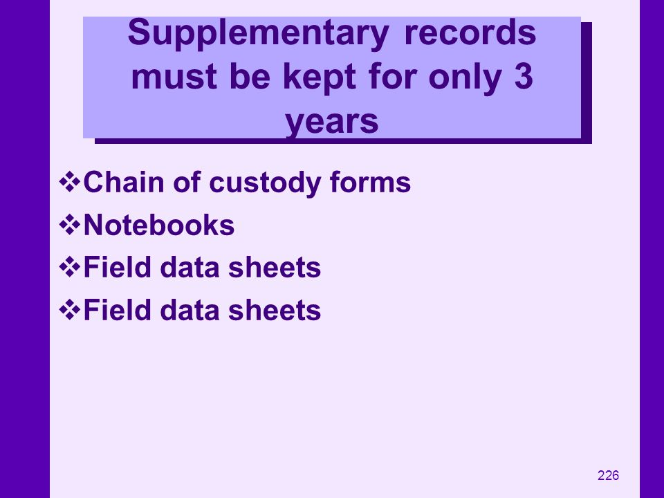 Supplementary records must be kept for only 3 years