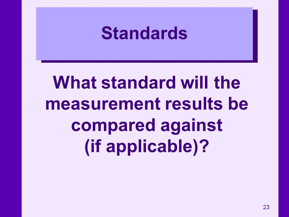 Standards What standard will the measurement results be compared against (if applicable)