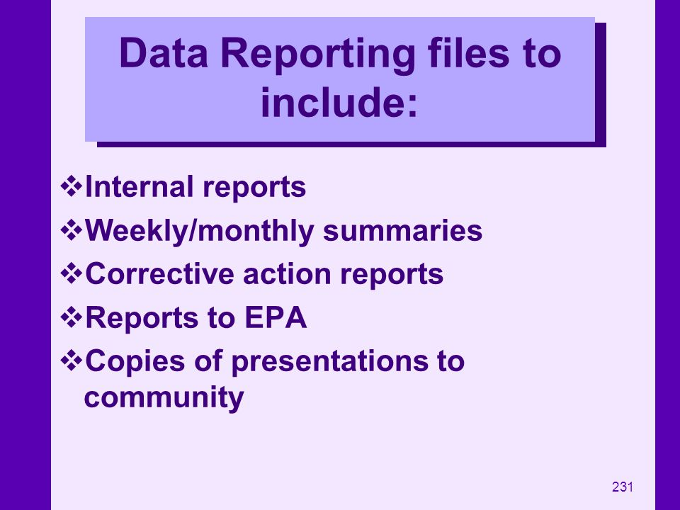 Data Reporting files to include: