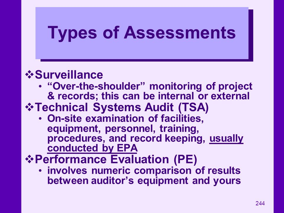 Types of Assessments Surveillance Technical Systems Audit (TSA)