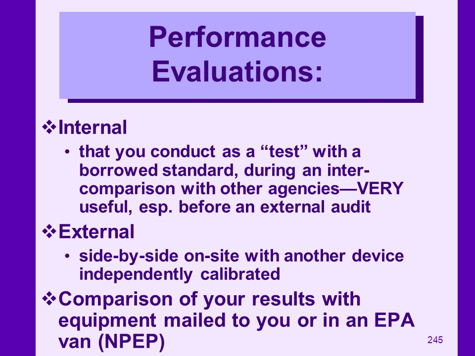 Performance Evaluations: