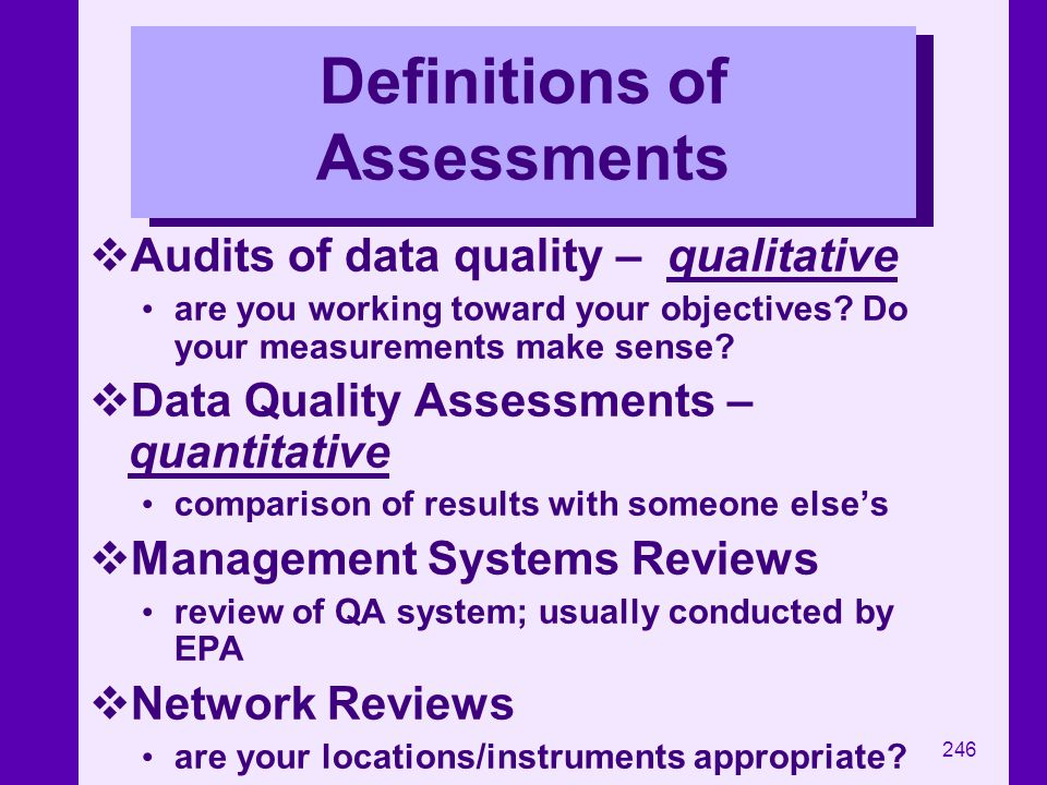 Definitions of Assessments
