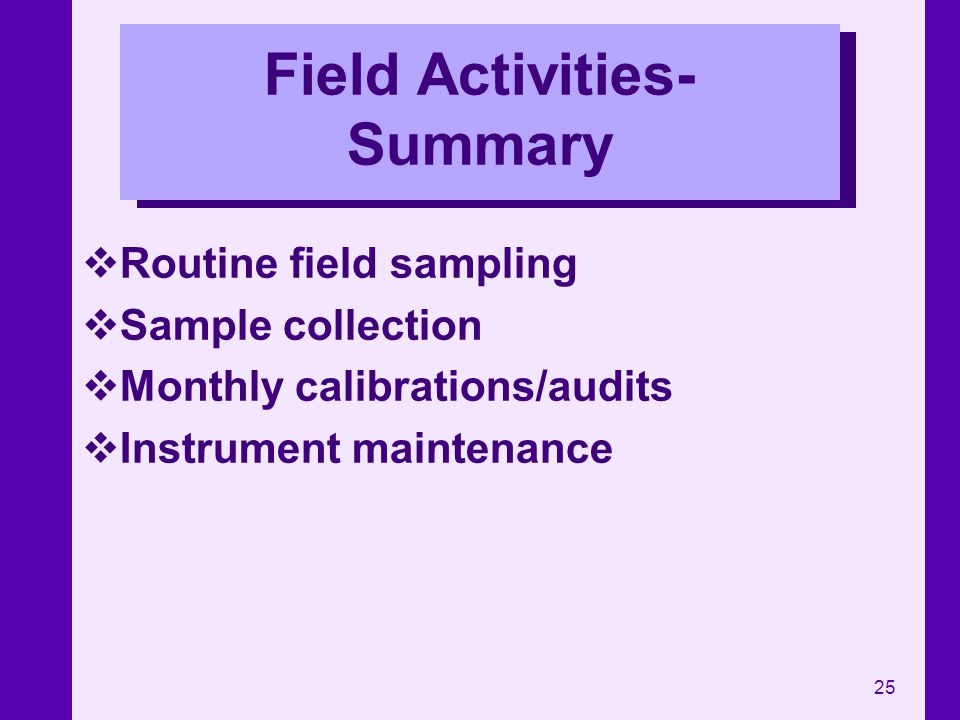 Field Activities-Summary