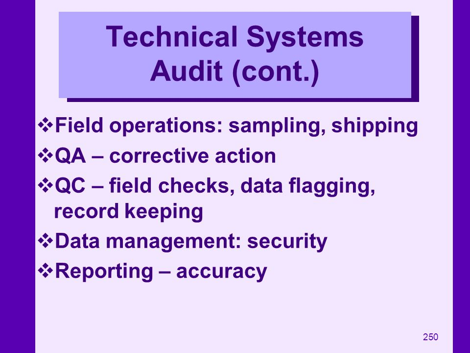 Technical Systems Audit (cont.)
