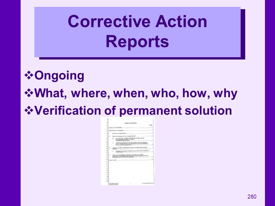 Corrective Action Reports