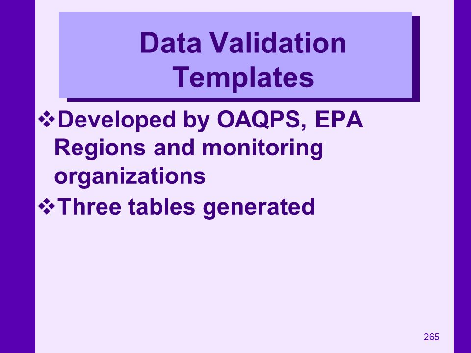 Data Validation Templates