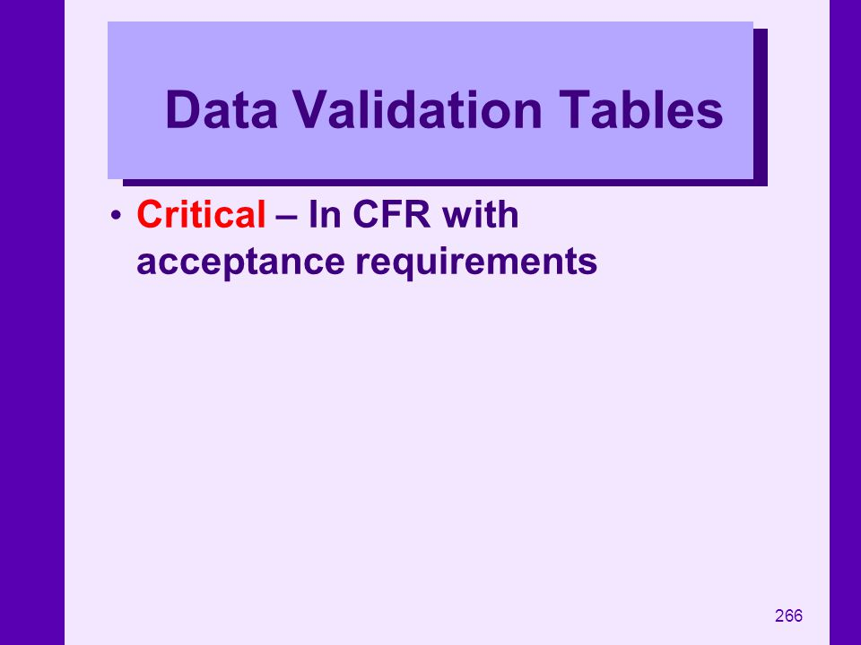 Data Validation Tables