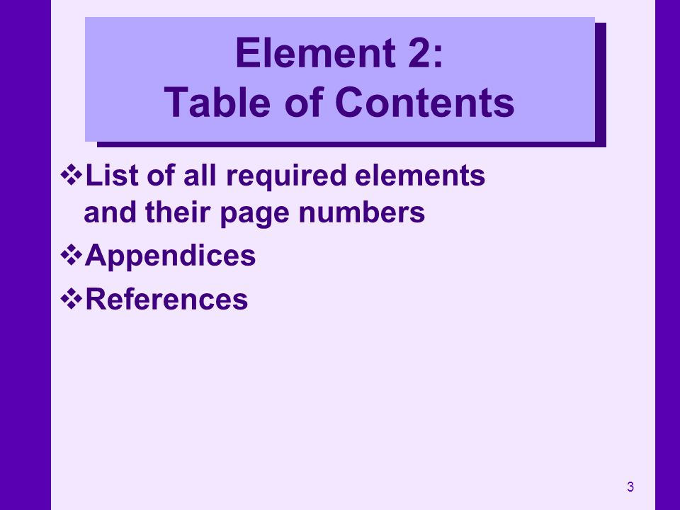 Element 2: Table of Contents