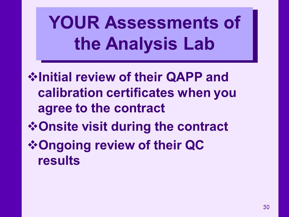 YOUR Assessments of the Analysis Lab