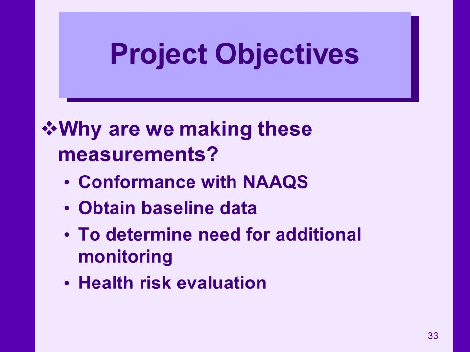 Project Objectives Why are we making these measurements