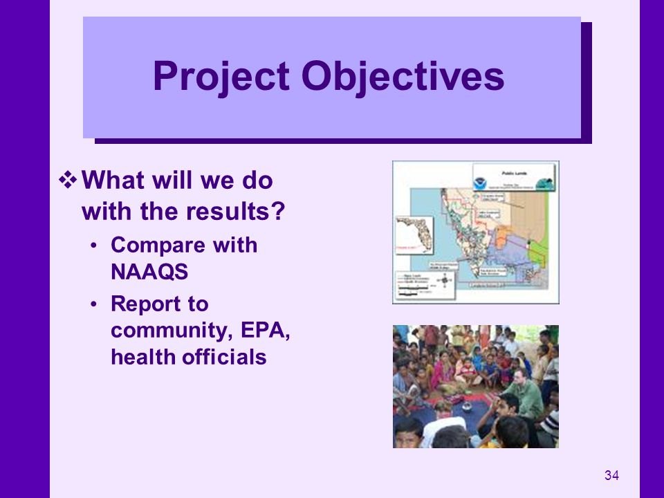 Project Objectives What will we do with the results