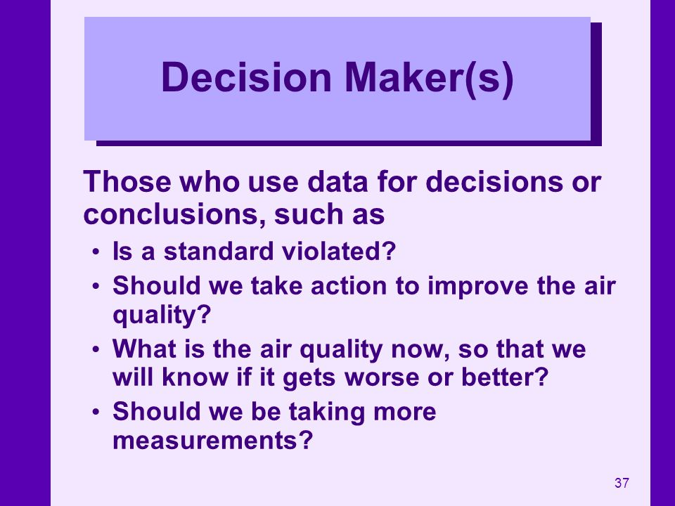 Decision Maker(s) Those who use data for decisions or conclusions, such as. Is a standard violated