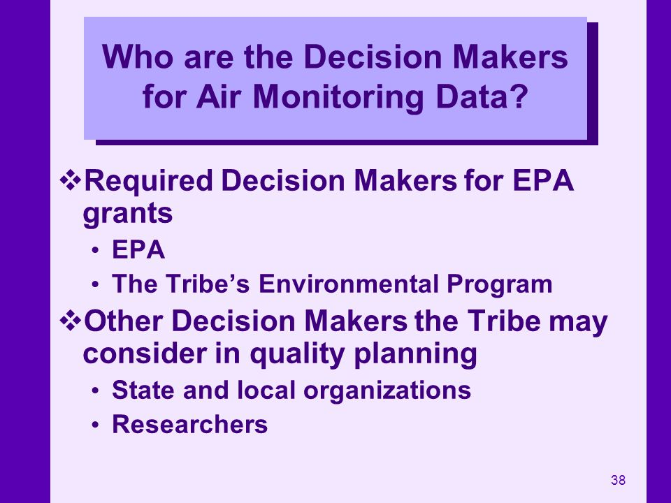 Who are the Decision Makers for Air Monitoring Data