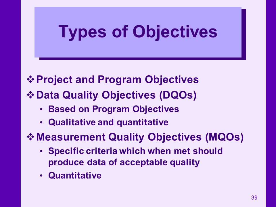 Types of Objectives Project and Program Objectives