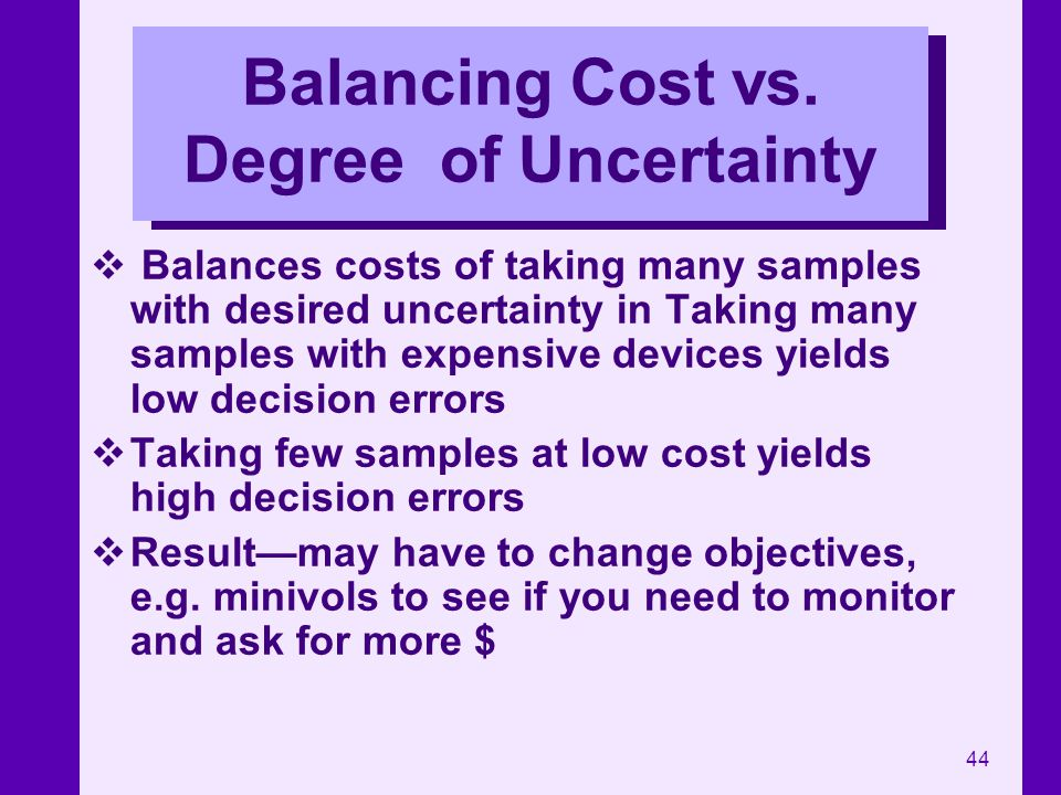 Balancing Cost vs. Degree of Uncertainty