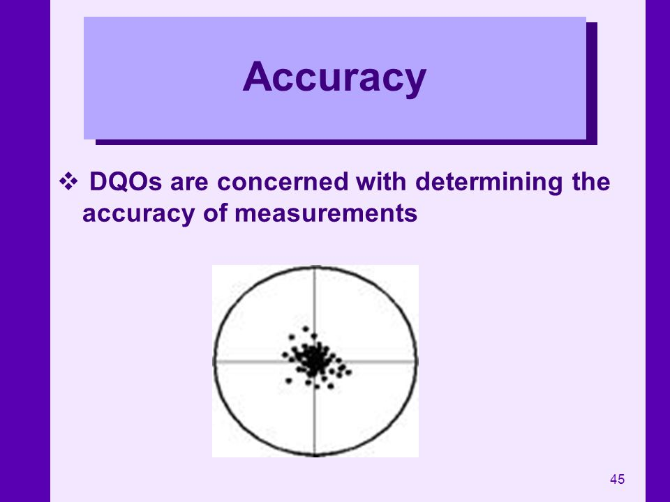 Accuracy DQOs are concerned with determining the accuracy of measurements