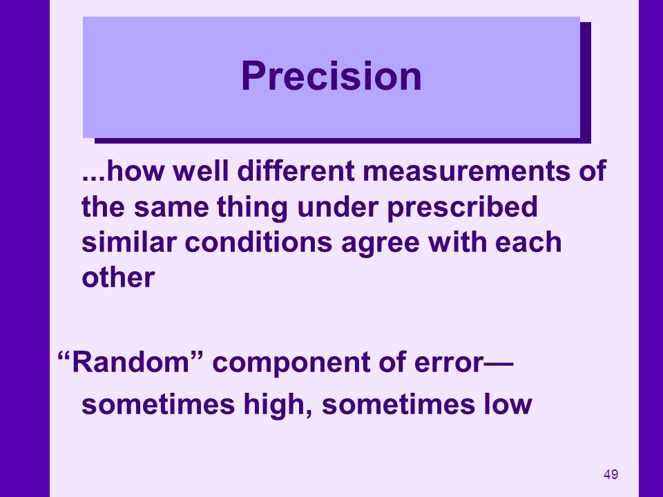 Precision ...how well different measurements of the same thing under prescribed similar conditions agree with each other.