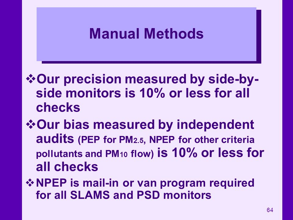 Manual Methods Our precision measured by side-by-side monitors is 10% or less for all checks.