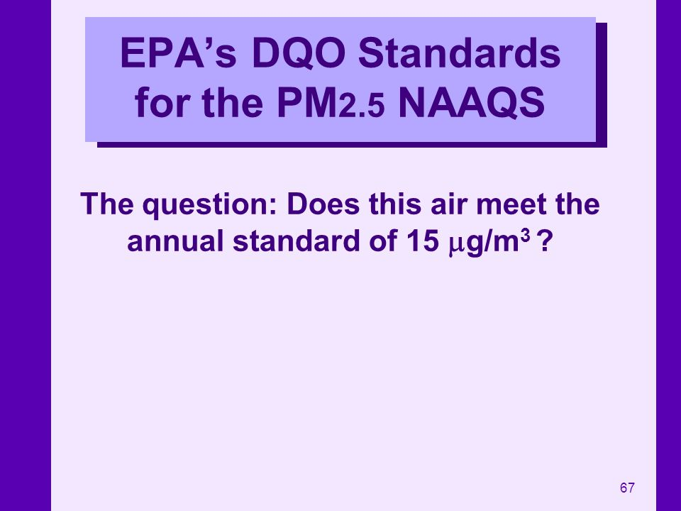 EPA's DQO Standards for the PM2.5 NAAQS