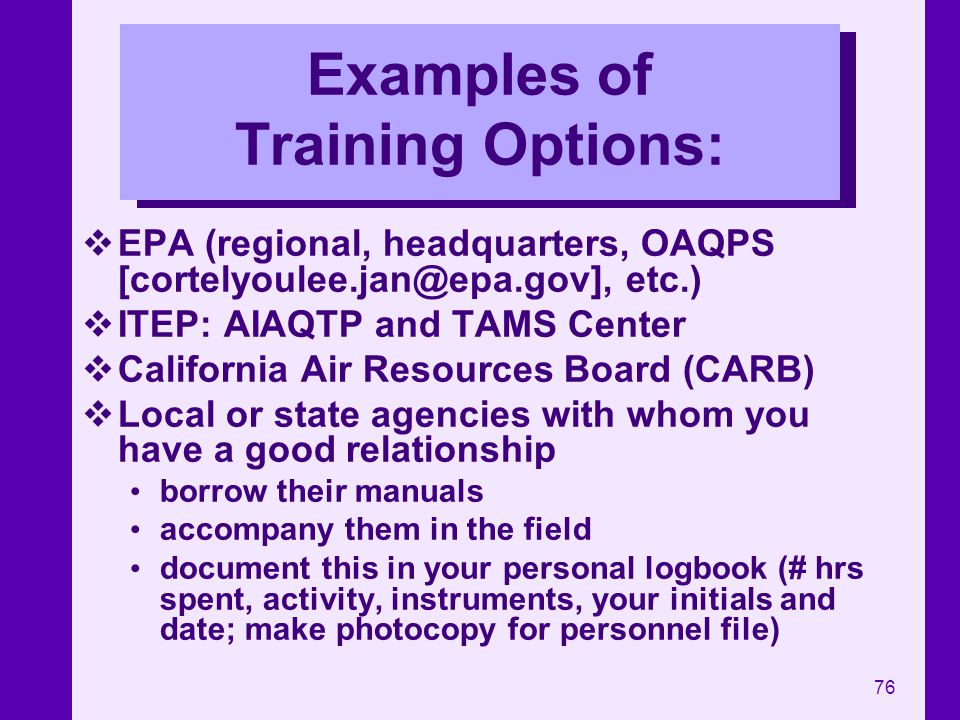 Examples of Training Options: