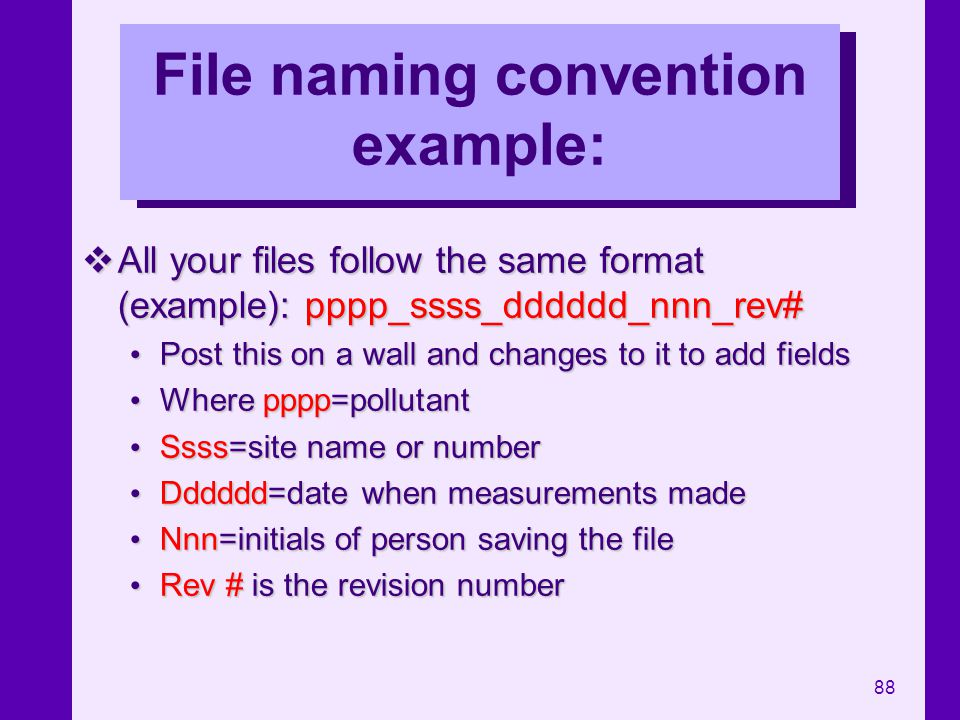File naming convention example: