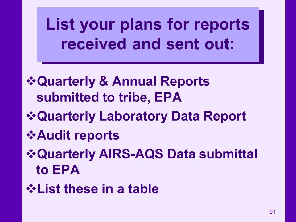 List your plans for reports received and sent out: