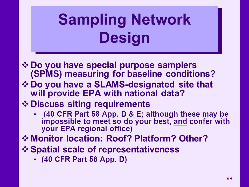 Sampling Network Design