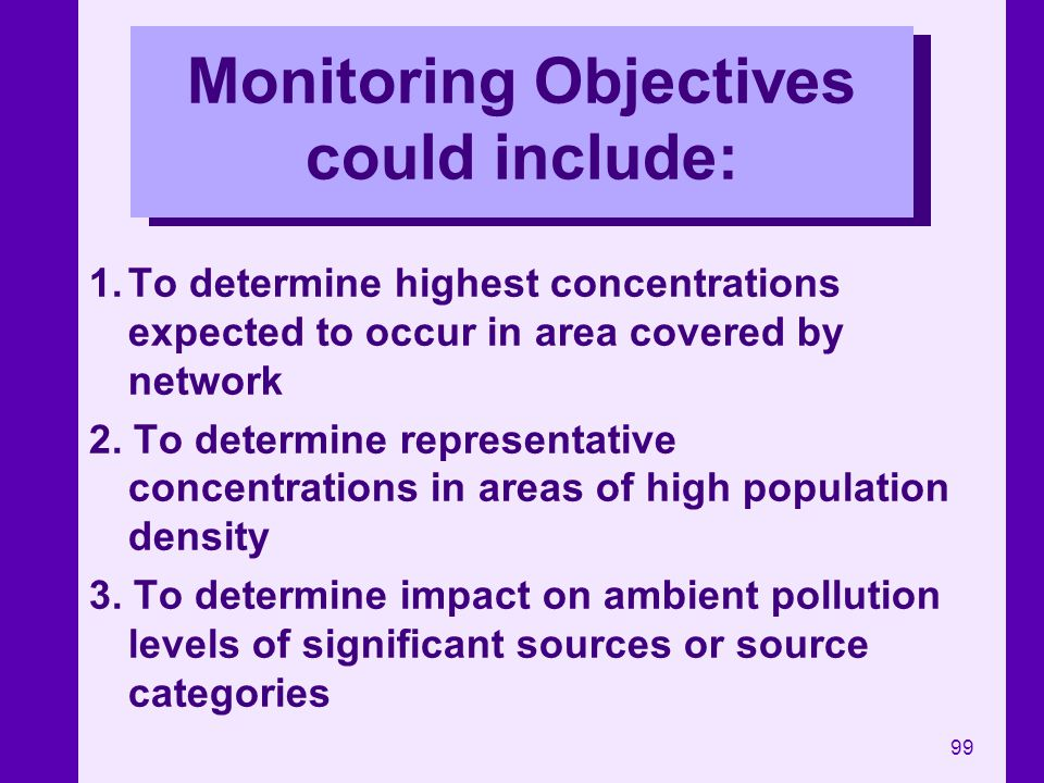 Monitoring Objectives could include: