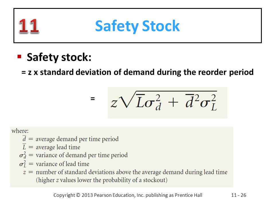 = z x standard deviation of demand during the reorder period