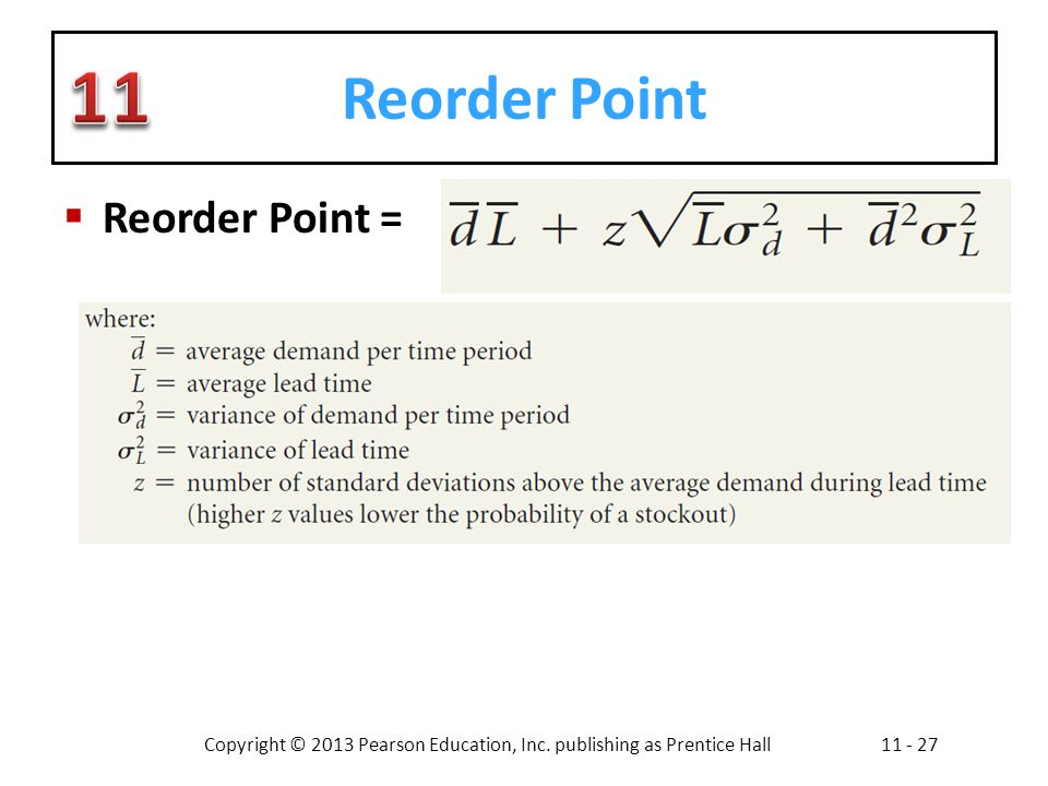 Reorder Point Reorder Point =